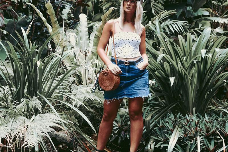 styling polka dots for 2018 shirred polka dot top denim skirt round rattan basket bag clear plastic glasses