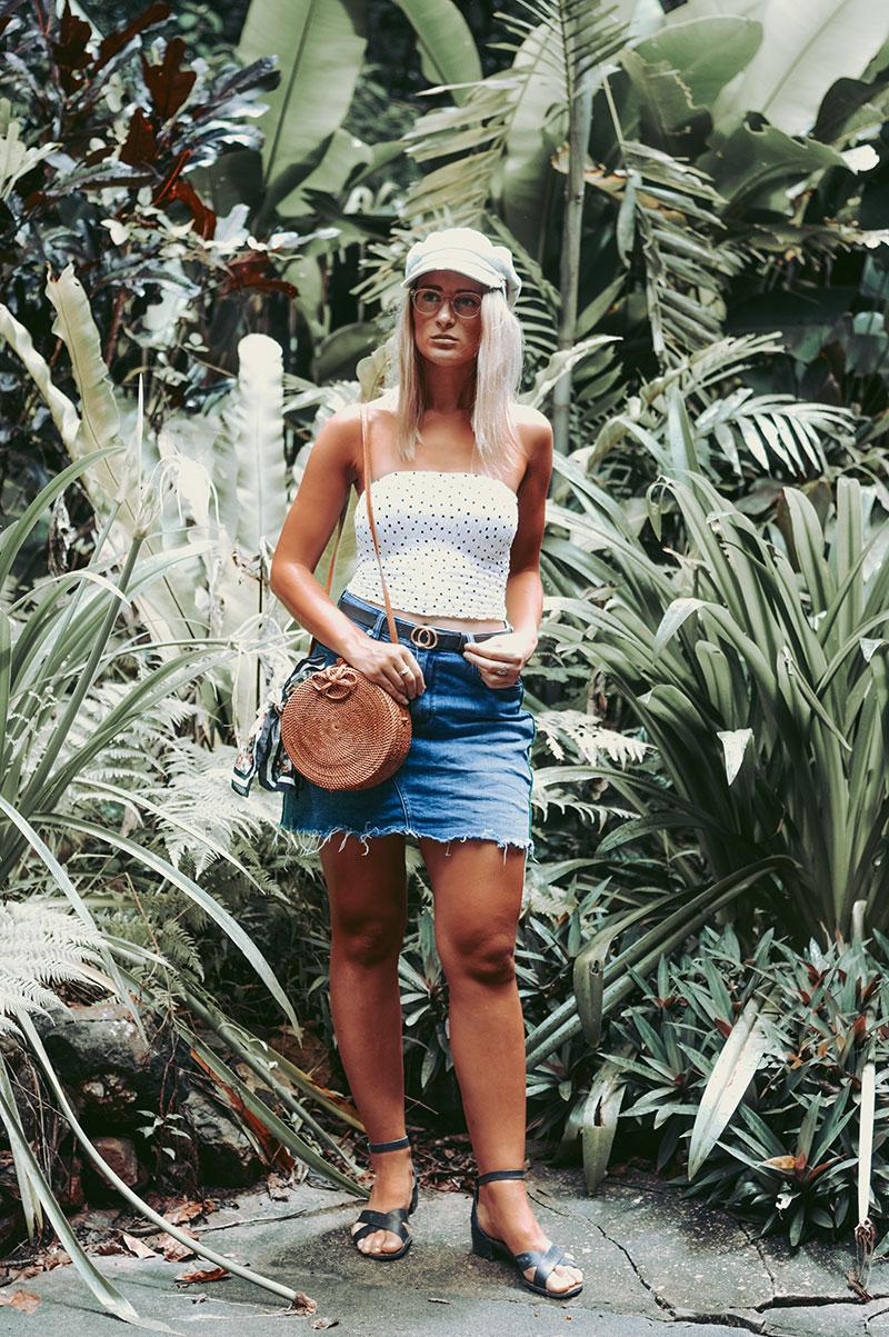 summer 2018 polka dot outfit denim baker boy cap round basket bag tropical fashion