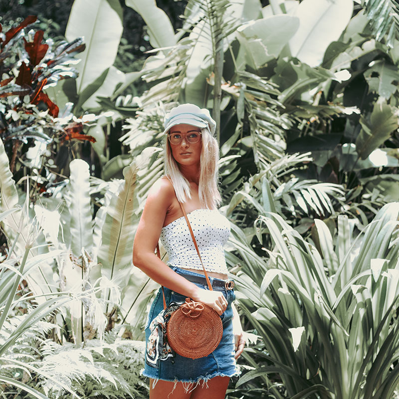 stylish polka dot summer outfit photographed in tropical north queensland rainforest