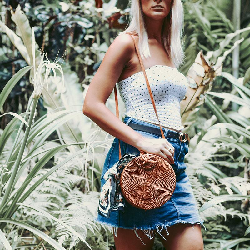 styling polka dots for 2018 strapless shirred polka dot top denim skirt round rattan basket bag