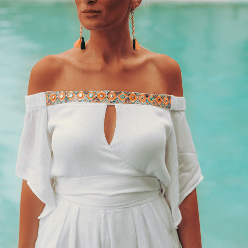 white off shoulder playsuit with bohemian embroidered details seven wonders the label