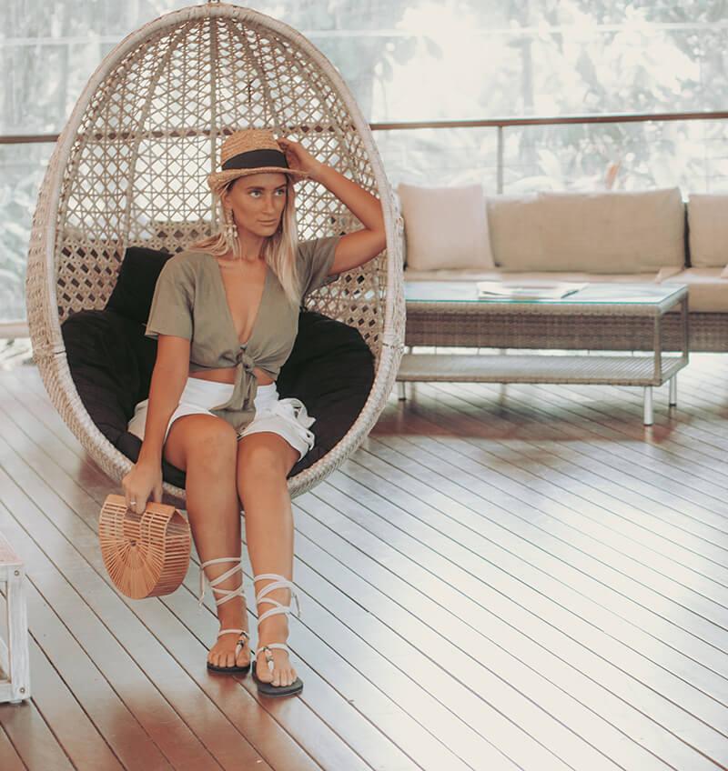 linen tie top summer outfit australian fashion blogger khaki tie crop top linen wrap skirt cult gaia bag