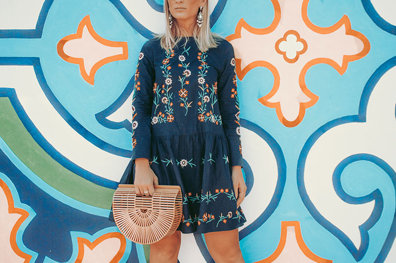 embroidered boho dress and cult gaia ark bag summer street style outfit details