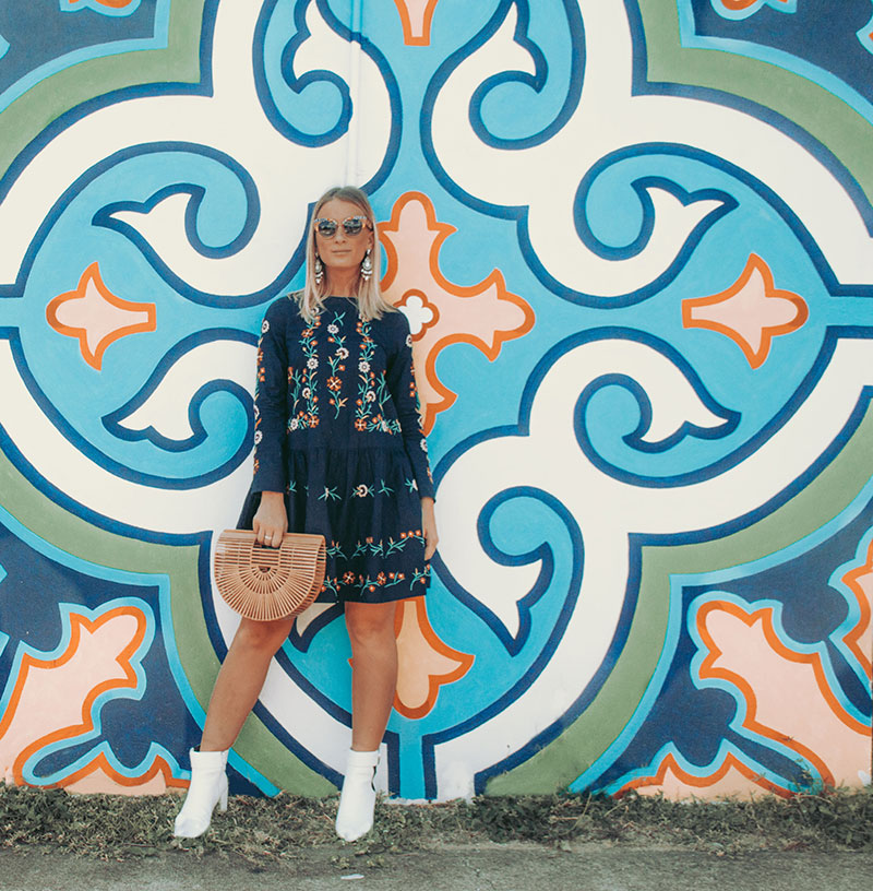 summer blogger outfit floral embroidered boom shankar swing dress and white ankle boots