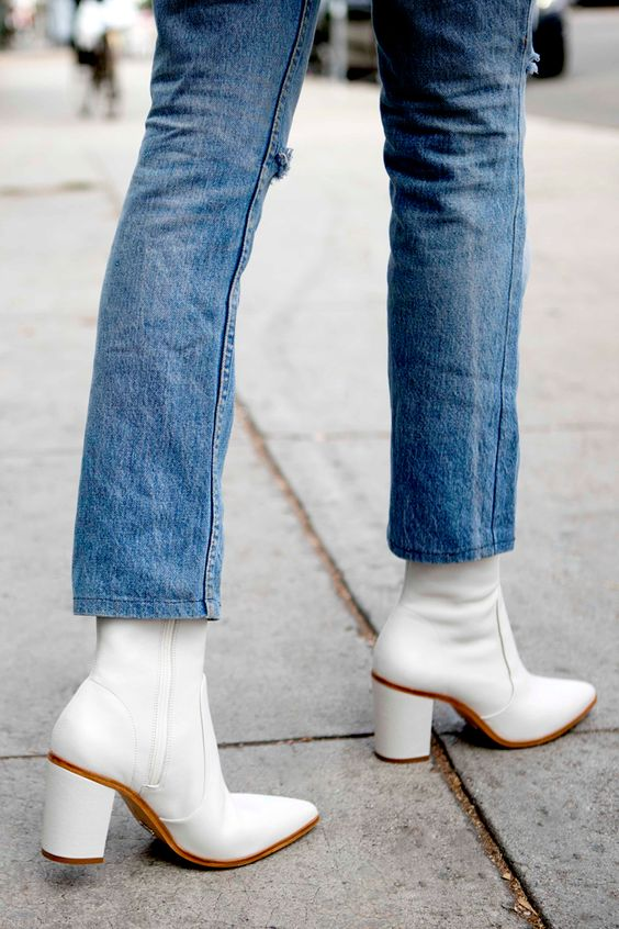 white ankle boots with crop jeans street style outfit details