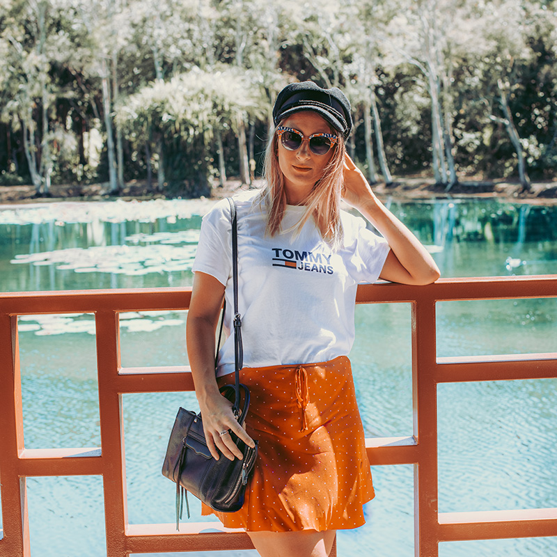 tommy hilfiger tee summer outfit red polka dot skirt baker boy hat photographed cairns centenary lakes