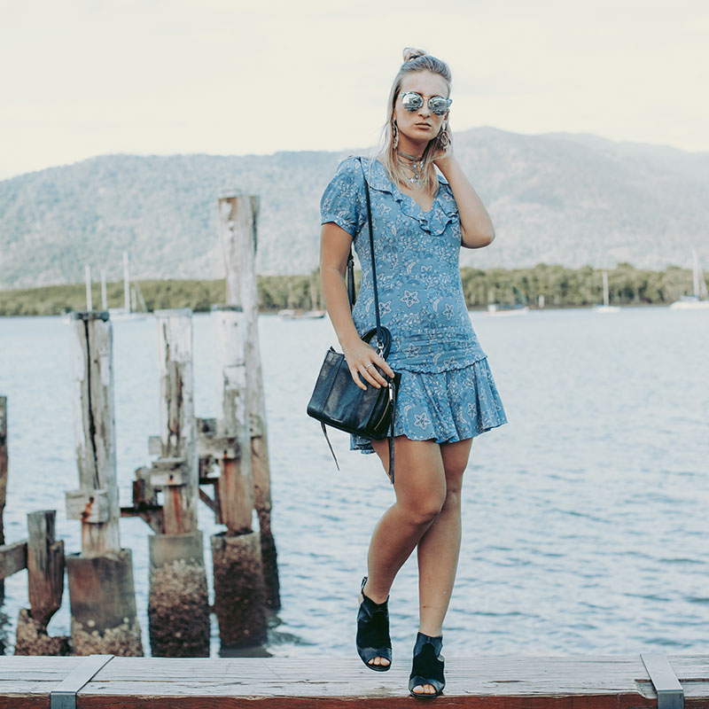 australian fashion blogger wears spell designs celestial mini dress black topshop boots summer outfit