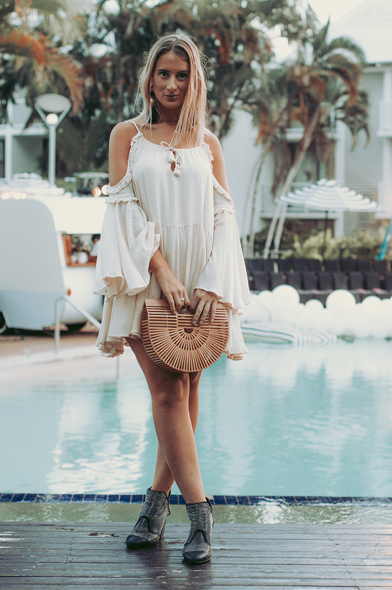 boho fashion blogger outfit spell and the gypsy collective florence mini dress with black boots and cult gaia ark basket bamboo bag