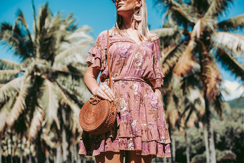 summer boho outfit spell rosa playdress and round basketbag the daily luxe