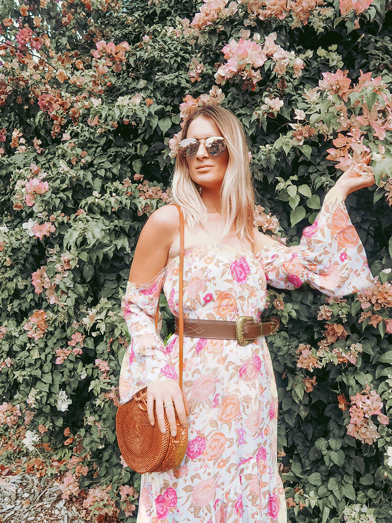australian blogger the daily luxe wears mahiya vintage rose dress with leather vintage belt and rattan basket bag