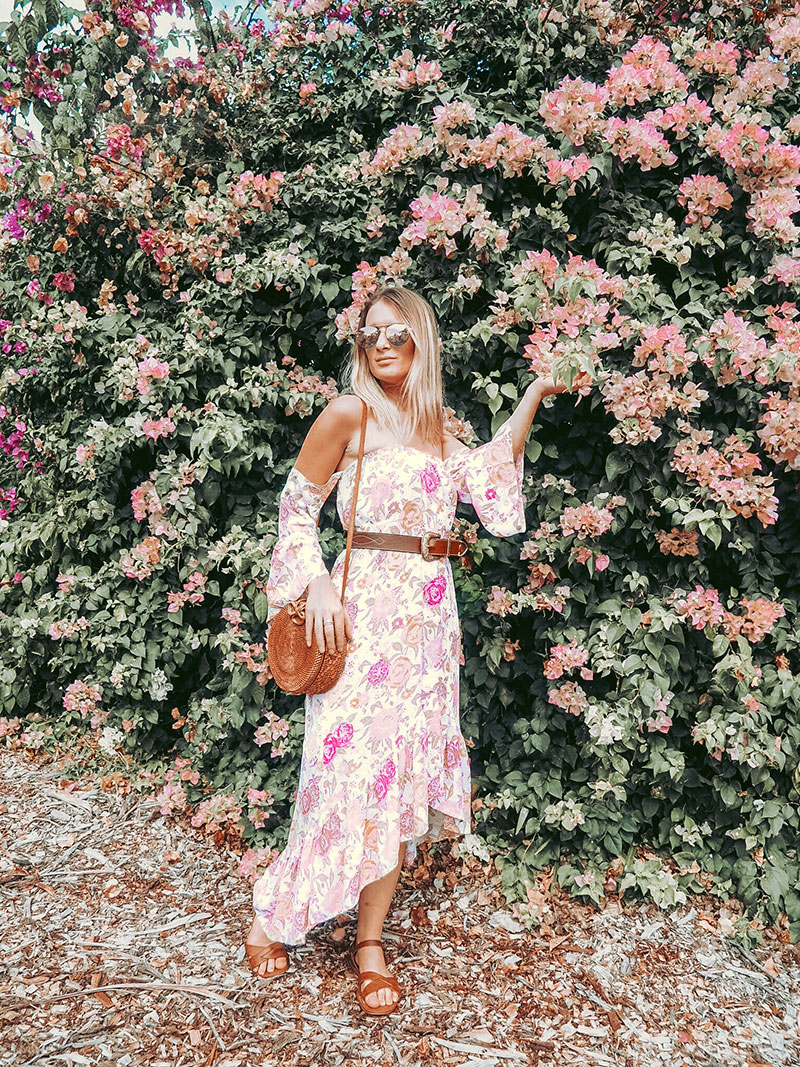 the daily luxe wears off shoulder boho floral print dress with rattan basket bag and brown belt