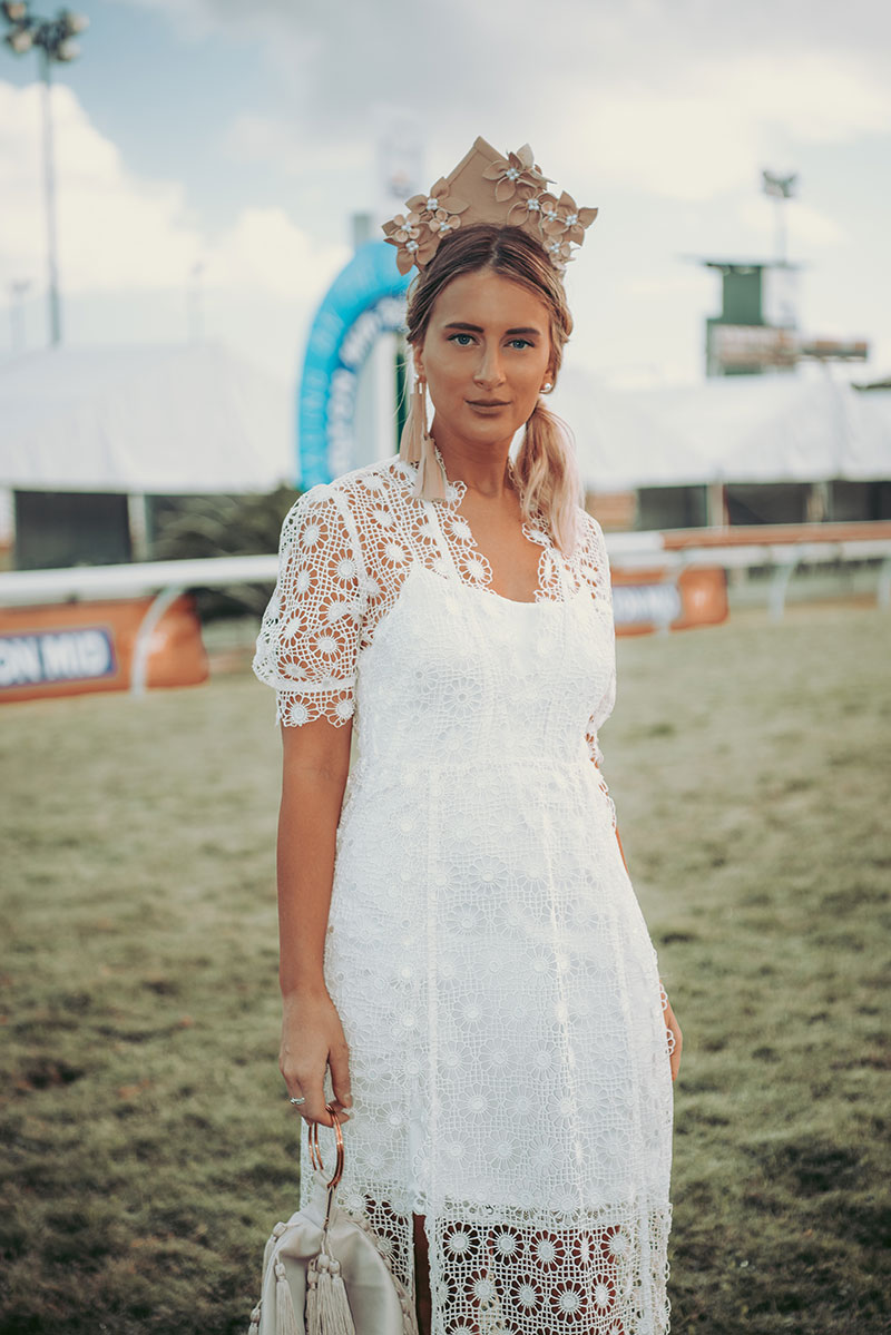 2018 spring racing milinary trends leather crown with flowers by NAT milinary as worn by the daily luxe at the cairns amateurs