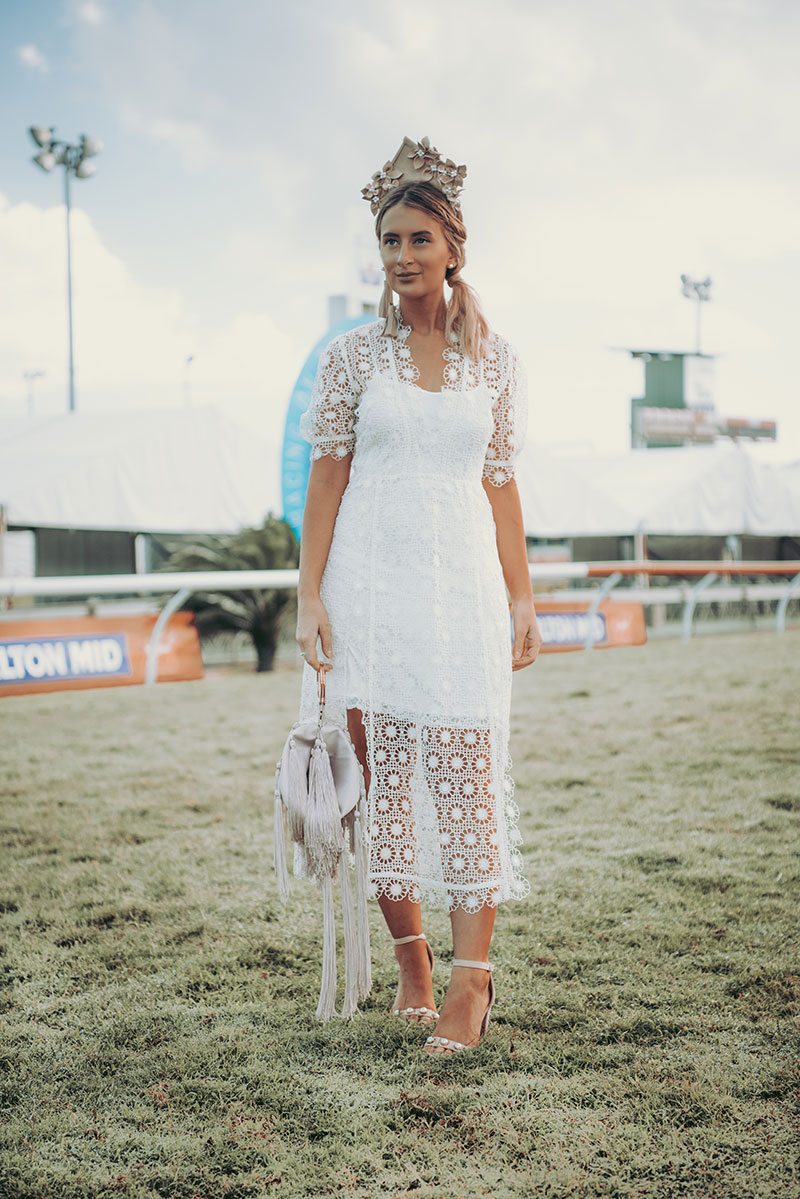 2018 spring racing style leather crown hairpiece white alice mccall dress pearl shoes fringe bag