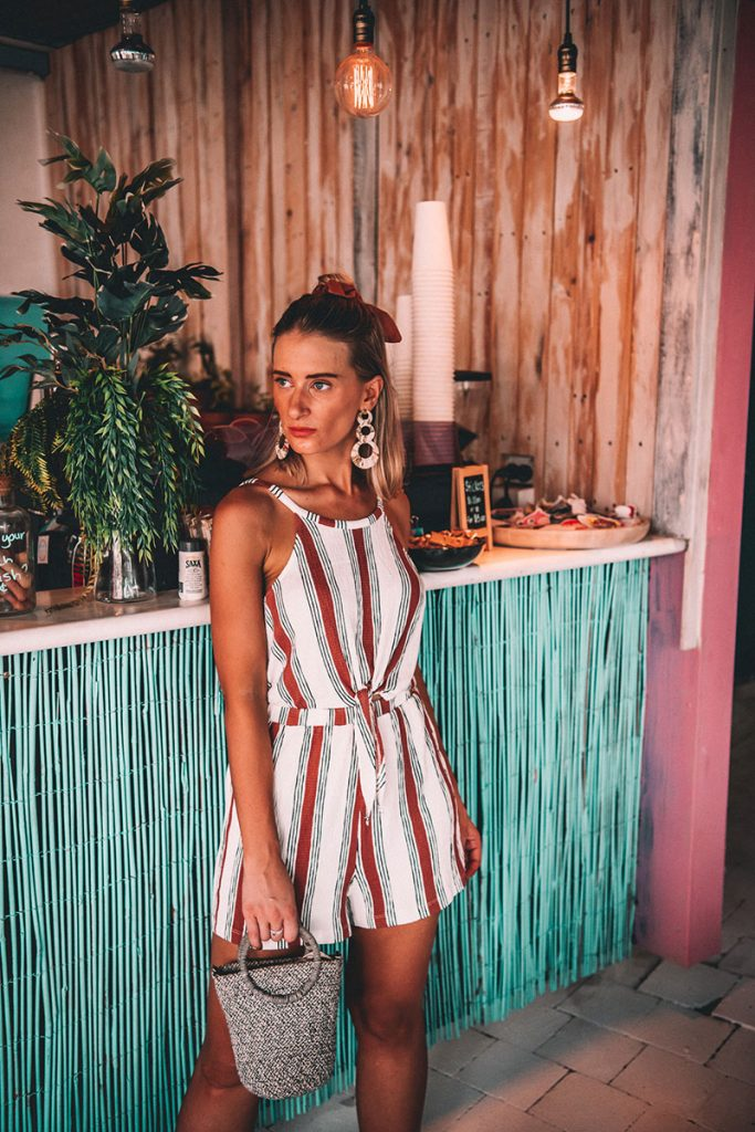 2019 cute summer outfit red and white stripe jumpsuit woven basket bag and circle earrings